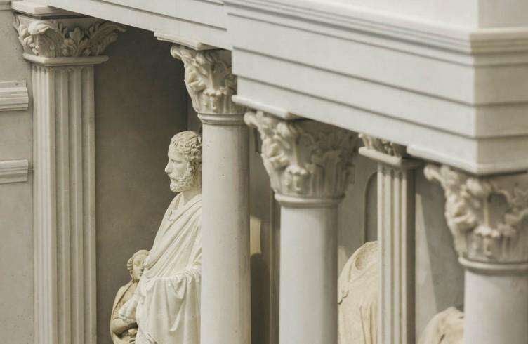 Particolare del modello a grandezza naturale della facciata di Arnolfo di Cambio nel Nuovo Museo dell'Opera del Duomo