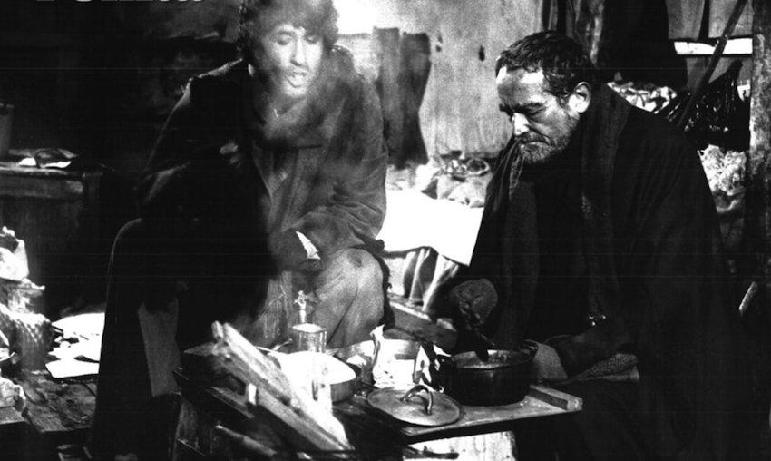 Una scena dal film L'Altro enigma di Carlo Tuzii da Affabulazione. Vittorio Gassman e Ninetto Davoli
