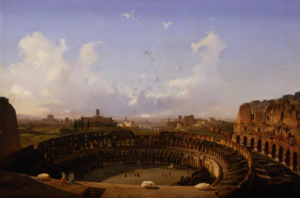 Ippolito Caffi Roma - Interno del Colosseo, 1855 olio su tela, cm 79 x 119 Venezia, Fondazione Musei Civici di Venezia - Galleria Internazionale d'Arte Moderna di Ca' Pesaro