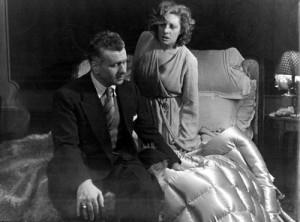 Gino Cervi e Andreina Pagnani in 'I parenti terribili' di Jean Cocteau, Teatro Eliseo, regia L.Visconti, foto Borzacchi