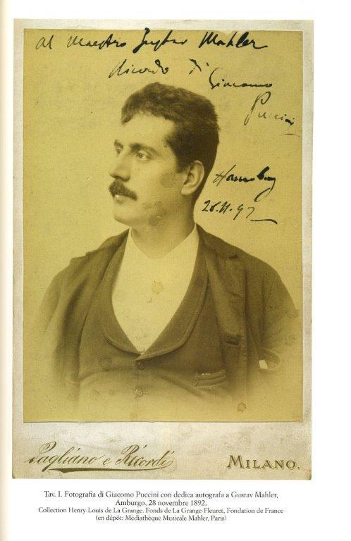 Fotografia di Giacomo Puccini con dedica autografa a Gustav Mahler (dal volume1 dell'Epistolario, per gentile concessione di Olschki)