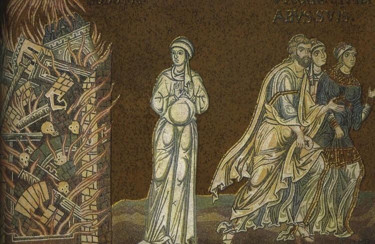 Mosaico Duomo Monreale La moglie di Lot diventa una statua di sale