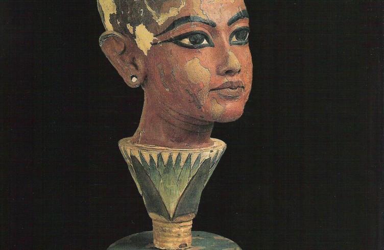 Testa lignea di Tutankhamon sorgente da un fiore di loto, Museo del Cairo