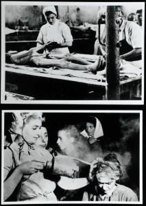 Fotografie di interventi di aiuto sui prigionieri dopo la liberazione. Archives & Manuscripts Keywords: Allen Percival Prior; Bergen-Belsen