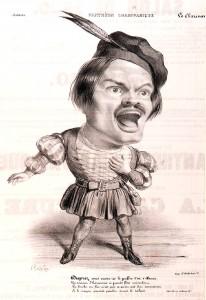 Una caricatura di Gilbert Duprez in Guglielmo Tell