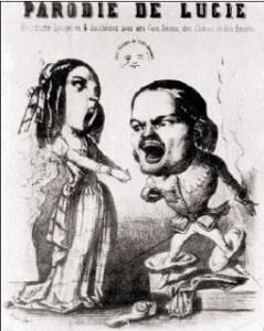 una caricatura di Duprez con il soprano Tacchinardi nella Lucia di Lammermoor