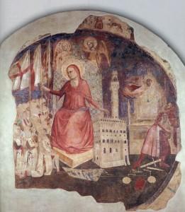 Andrea Orcagna, la cacciata del duca d'atene, affersco staccato dal carcere delle stinche