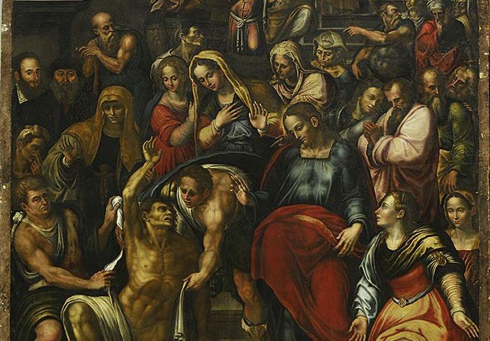Michelangelo Carducci, Resurrezione di Lazzaro, olio su tavola. Norcia, Basilica di San Benedetto