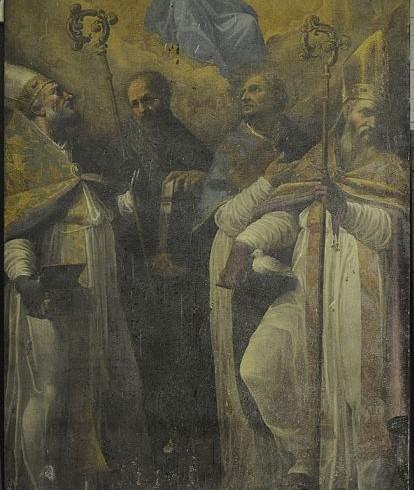 Cristoforo Roncalli, detto il Pomarancio, Madonna con il Bambino e i santi Spes, Santolo, Fiorenzo (?) ed Eutizio, olio su tela, cm 235x148. Norcia, chiesa di Santa Maria Argentea