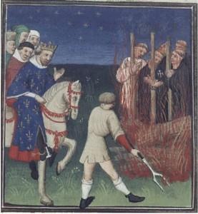 Filippo il Bello ordina il rogo dei Templari. Illustrazione da Des cas des nobles hommes et femmes di Giovanni Boccaccio