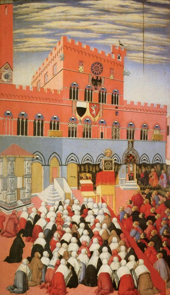 Sano di Pietro - San Bernardino predica nel Campo (ca. 1445) Siena, Museo dell'Opera del Duomo