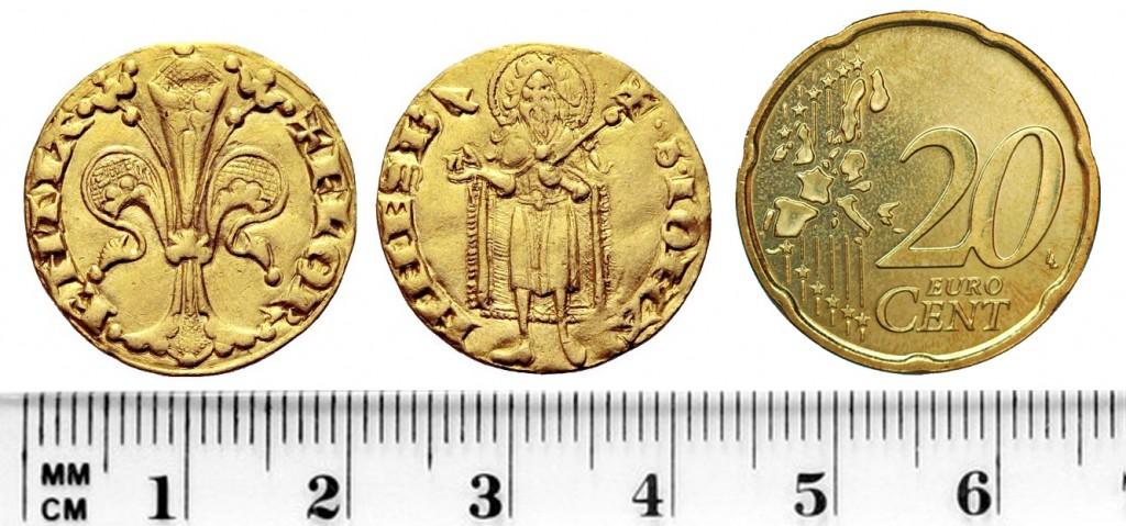 Paragone tra un fiorino e una moneta da 20 centesimi di euro