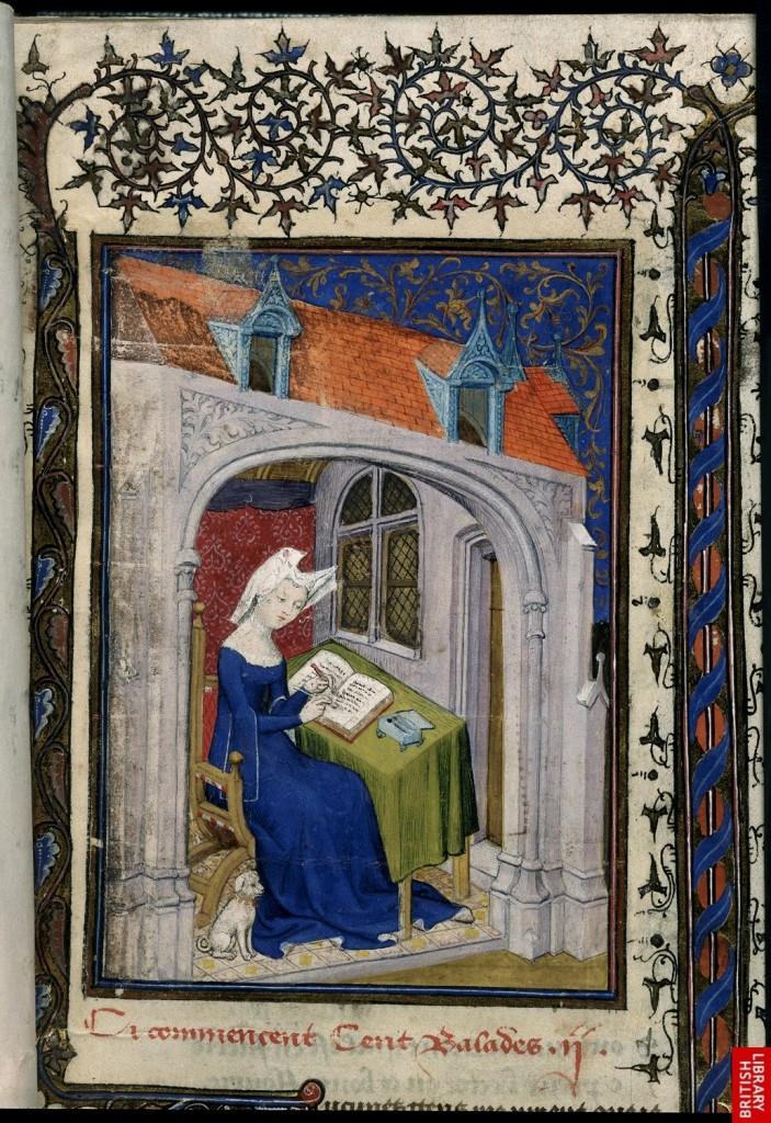 Christine de Pizan nel suo studio, miniatura del Maestro della Città delle Dame dal Libro della Regina, 1410, Manoscritto Harley MS 443, British Library