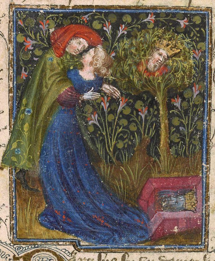 Gli amanti alla fontana di Narciso, miniatura dal Roman de la Rose, circa 1405, The Morgan Library & Museum - MS M.245 fol. 11r